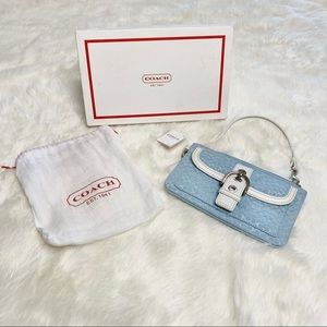 Coach Wristlet Blue with White Leather Buckle NIB